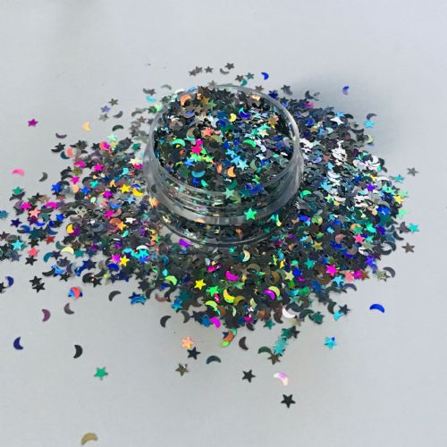 HOLOGRAPHIC MOONS/STARS GLITTER POT - 10g